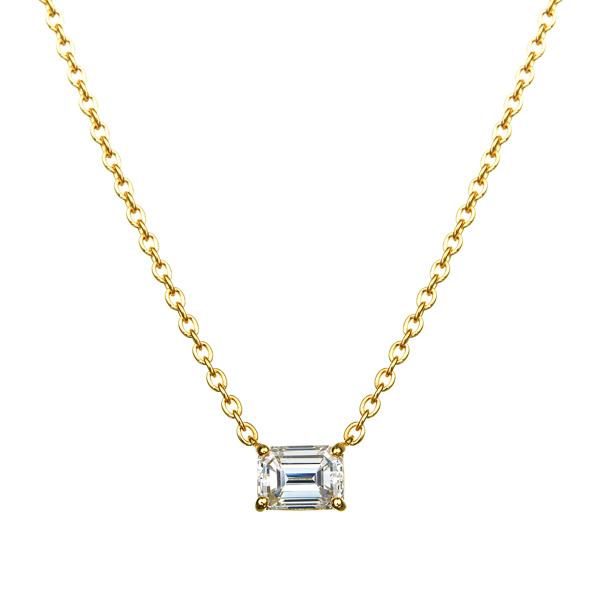 K18YG エメラルドカット ダイヤモンドネックレス