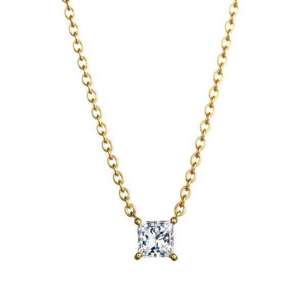 K18YG プリンセスカット ダイヤモンド ネックレス