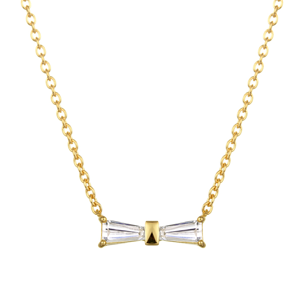 K18YG テーパーカット ダイヤモンド リボン ネックレス