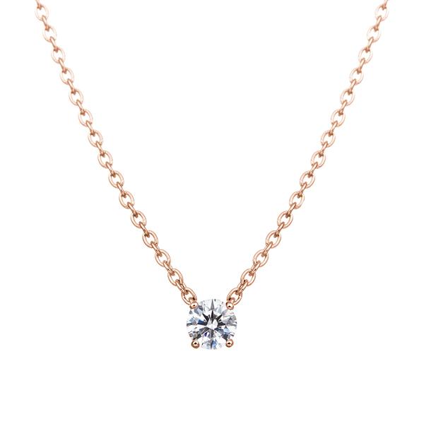 K18PG 0.1ct ダイヤモンド 4ポイント ネックレス アイコニック