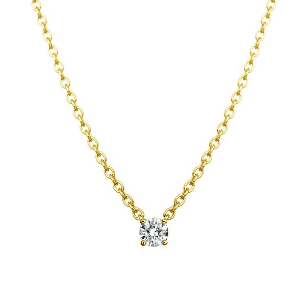 K18YG 0.05ct ダイヤモンド 4ポイント ネックレス アイコニック