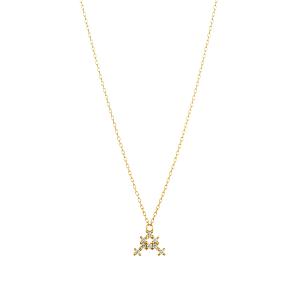 K18YG ダイヤモンド クロスステッチ イニシャルネックレスA