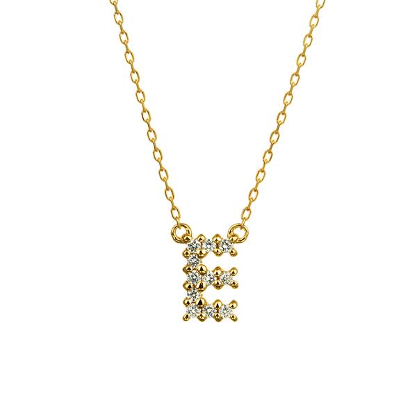 K18YG ダイヤモンド クロスステッチ イニシャルネックレスE