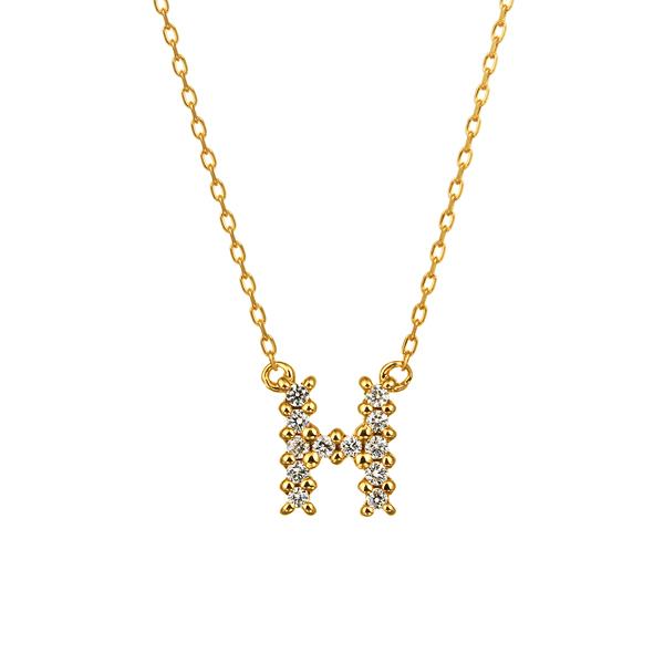 K18YG ダイヤモンド クロスステッチ イニシャルネックレスH