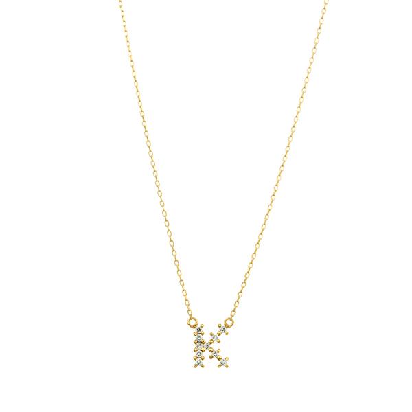 K18YG クロスステッチ ダイヤモンド イニシャル ネックレス K