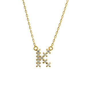 K18YG ダイヤモンド クロスステッチ イニシャルネックレスK