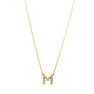 K18YG ダイヤモンド クロスステッチ イニシャルネックレス