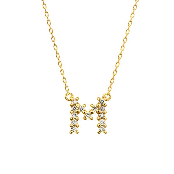 K18YG クロスステッチ ダイヤモンド イニシャル ネックレス M
