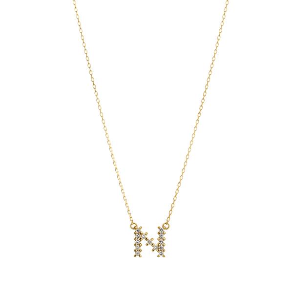 K18YG ダイヤモンド クロスステッチ イニシャルネックレスN