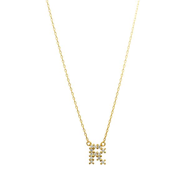 K18YG ダイヤモンド クロスステッチ イニシャルネックレスR