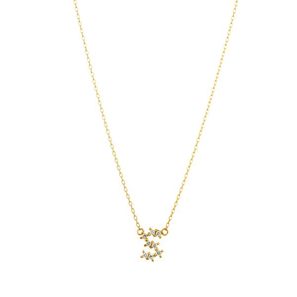 K18YG ダイヤモンド クロスステッチ イニシャルネックレスS