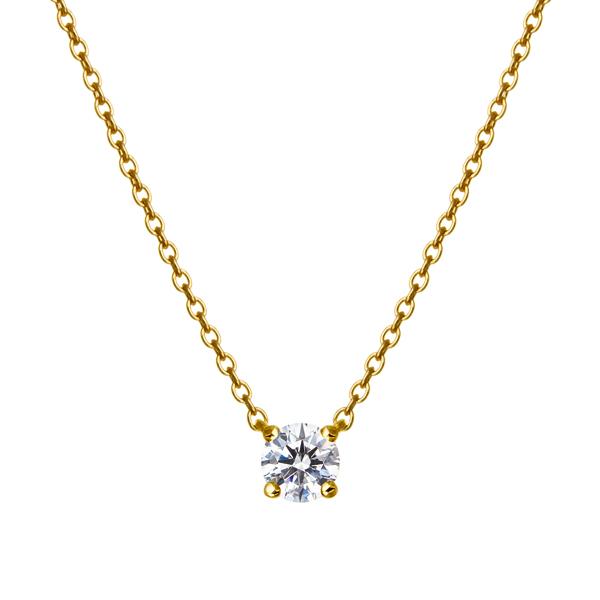 K18YG 0.15ct ダイヤモンド 4ポイント ネックレス アイコニック