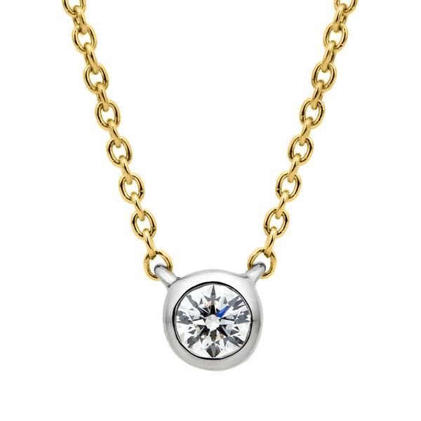 PT950/K18YG アイコニック ベゼル ダイヤモンド ネックレス 45cm 0.07ct