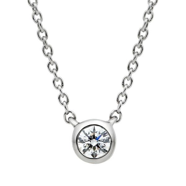 PT950 アイコニック ベゼル ダイヤモンド ネックレス 45cm 0.07ct
