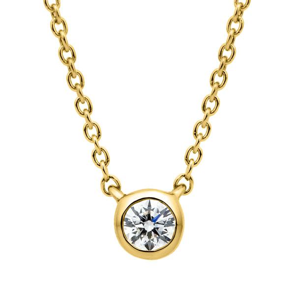K18YG アイコニック ベゼル ダイヤモンド ネックレス 45cm 0.07ct