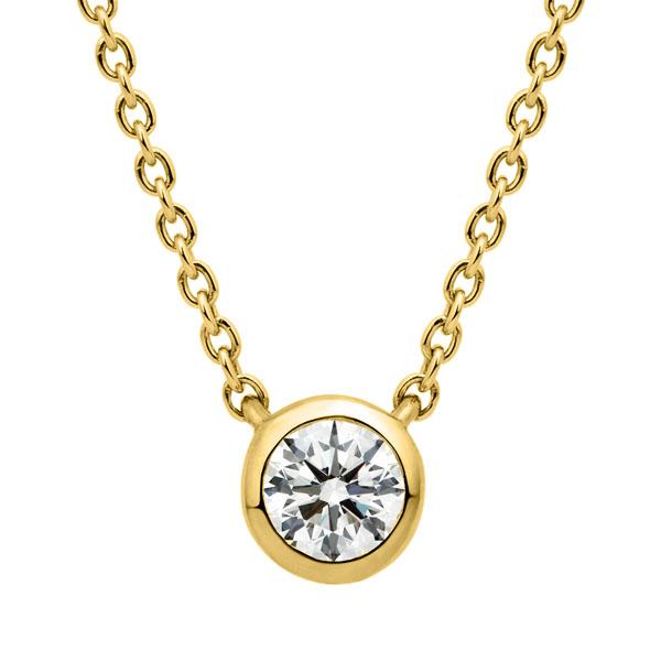 K18YG アイコニック ベゼル ダイヤモンド ネックレス 45cm 0.12ct