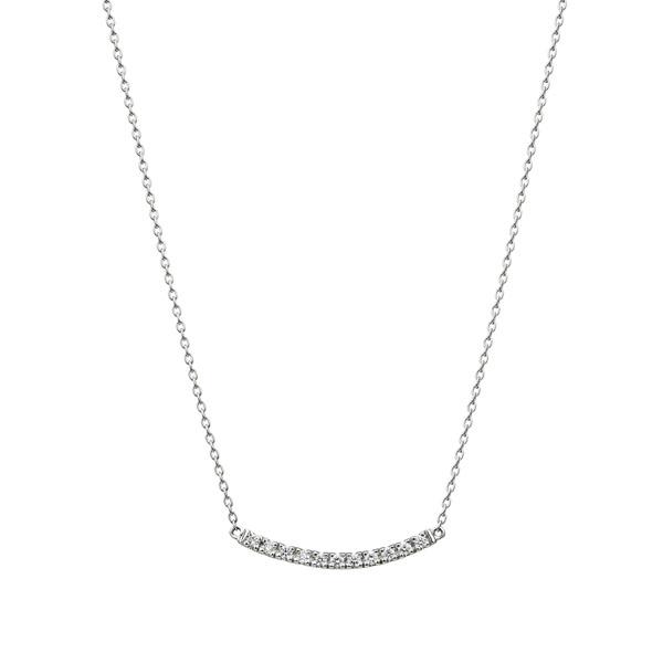 PT950 ボウ ダイヤモンド ライン ネックレス ショート 40cm