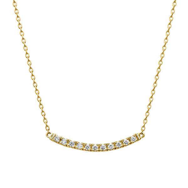 K18YG ボウ ダイヤモンド ライン ネックレス ショート 40cm