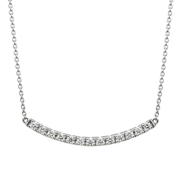PT950 ボウ ダイヤモンド ライン ネックレス ミディアム 45cm