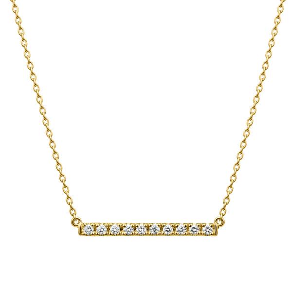 K18YG レクト ダイヤモンド バー ネックレス 40cm