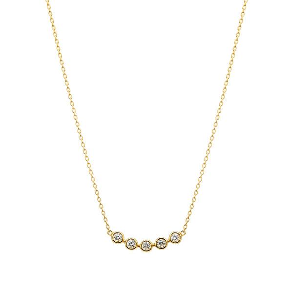 K18YG ペブル ダイヤモンド ライン ネックレス 40cm