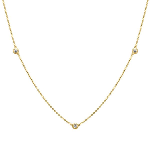 K18YG ベゼル ダイヤモンド ステーション ネックレス 45cm