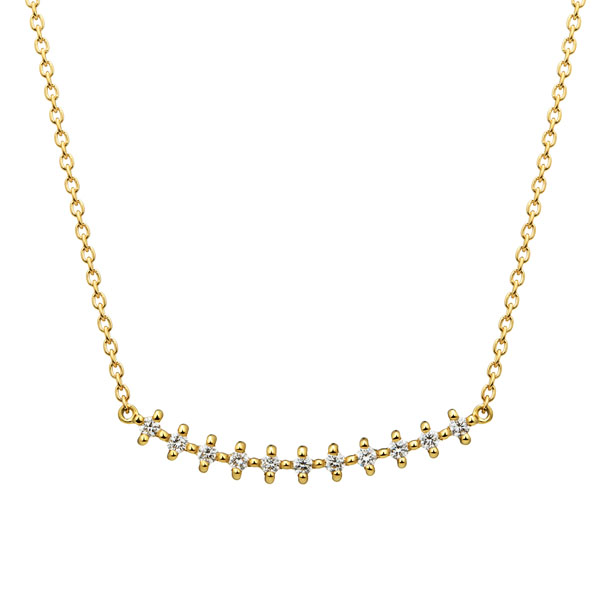 K18YG クロスステッチ ダイヤモンド ライン ネックレス 40cm