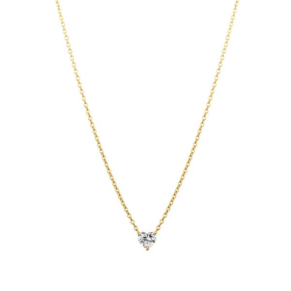 K18YG ハートブリリアントカット ダイヤモンド ペンダント 0.15ct