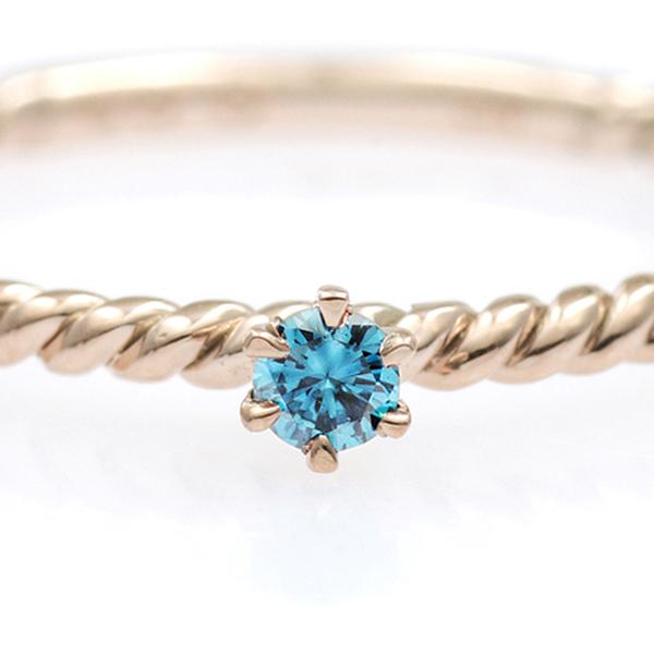 K18PG ケーブルステッチ ブルー ダイヤモンド リング φ2.5