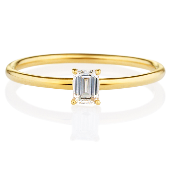 K18YG エメラルドカット ダイヤモンド リング