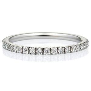 K18WG スクエア ダイヤモンド ハーフエタニティ リング 1.5mm