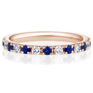 K18PG スクエア プレシャスストーン ブルー サファイア ダイヤモンド ハーフエタニティ リング 2.3mm 4-7