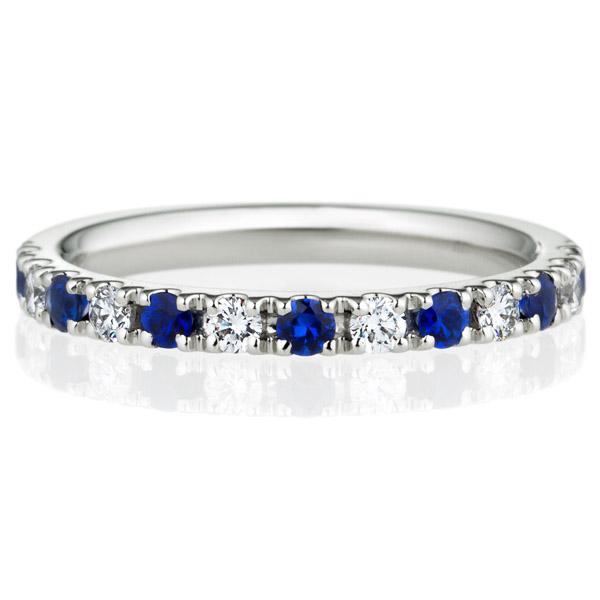 PT950 スクエア プレシャスストーン ブルー サファイア ダイヤモンド ハーフエタニティ リング 2.3mm 4-7