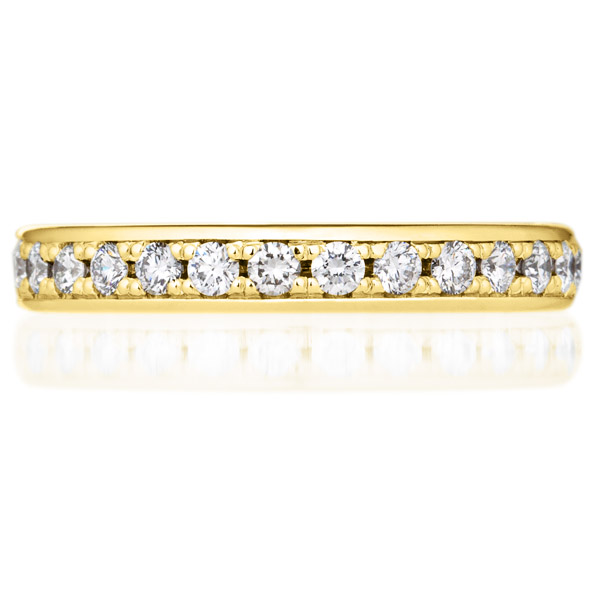 K18YG オーバル フレーム ダイヤモンド ハーフエタニティ リング 3.2mm 4-9.5