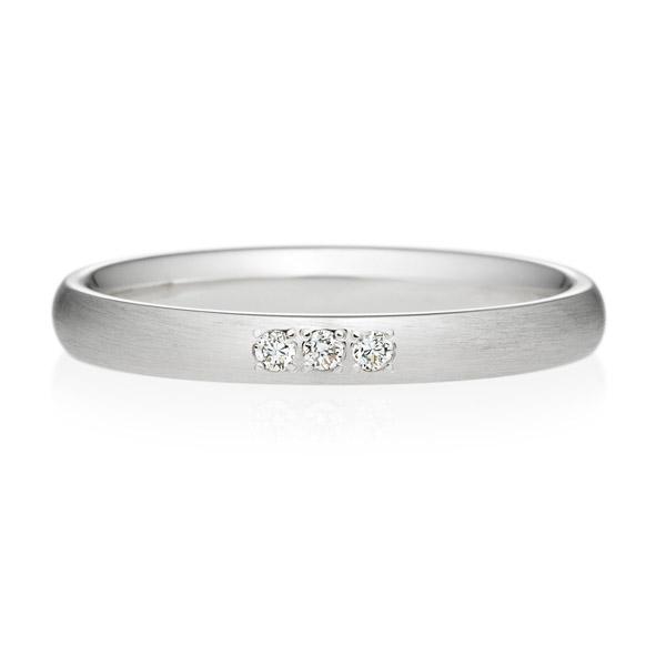 PT950 オーバル ダイヤモンド 3ps プチエタニティ リング ヘアーライン  2.5mm