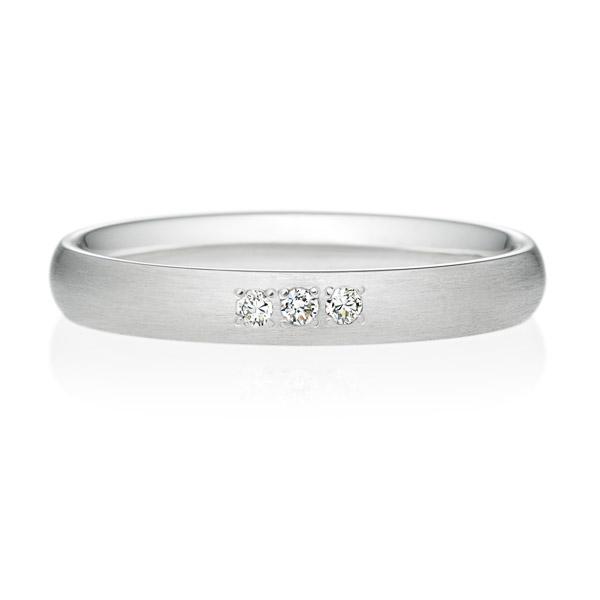 PT950 オーバル ダイヤモンド 3ps プチエタニティ リング ヘアーライン  3.0mm