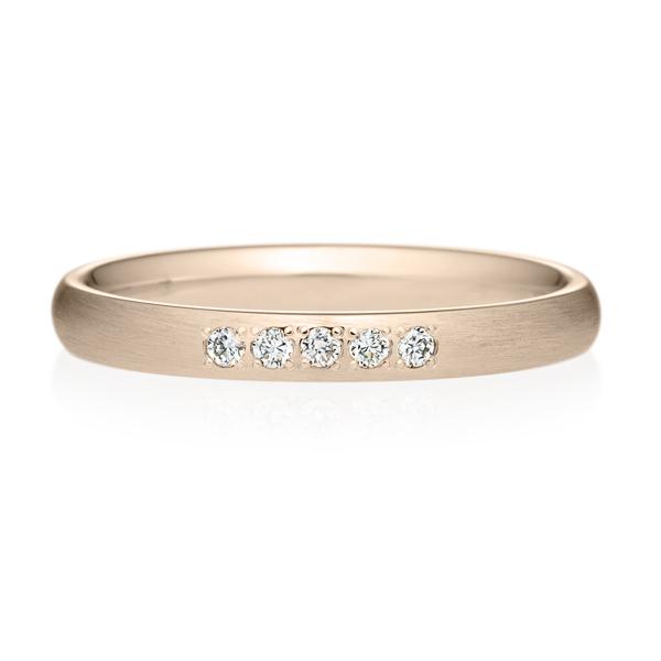 K18CG オーバル ダイヤモンド 5pcs プチエタニティ リング ヘアーライン  2.5mm