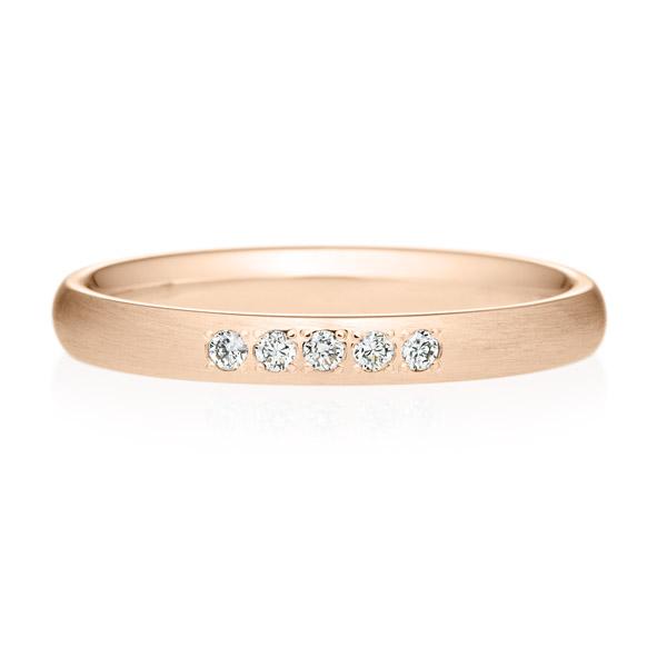K18PG オーバル ダイヤモンド 5pcs プチエタニティ リング ヘアーライン  2.5mm