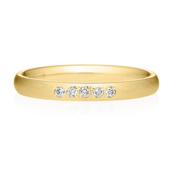 K18YG オーバル ダイヤモンド 5ps プチエタニティ リング ヘアーライン  2.5mm