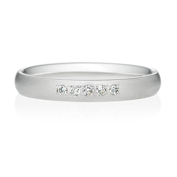 PT950 オーバル ダイヤモンド 5ps プチエタニティ リング ヘアーライン  3.0mm
