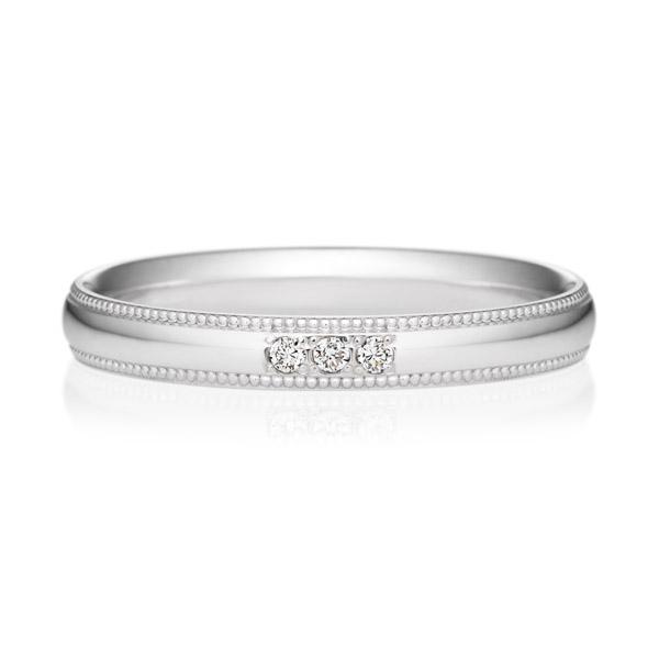PT950 オーバル ダイヤモンド 3ps プチエタニティ リング ミルグレイン 2.5mm