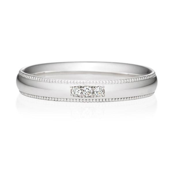 PT950 オーバル ダイヤモンド 3ps プチエタニティ リング ミルグレイン 3.0mm