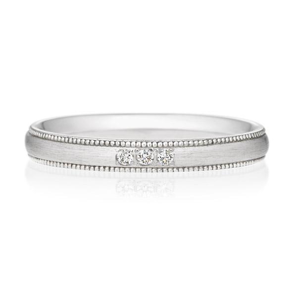 オーバル ミルグレイン ヘアーライン ダイヤモンド3ps プチエタニティ
