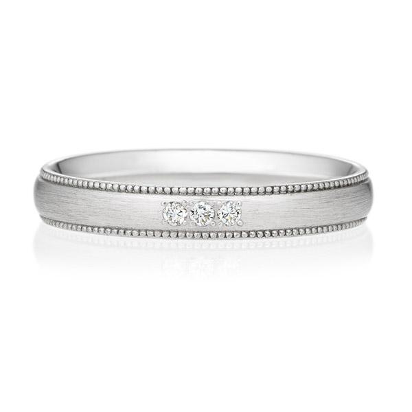 PT950 オーバル ダイヤモンド 3ps プチエタニティ リング ミルグレイン ヘアーライン  3.0mm