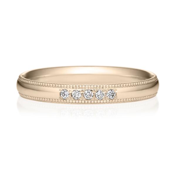 K18CG オーバル ダイヤモンド 5pcs プチエタニティ リング ミルグレイン 2.5mm