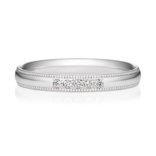 K18WG オーバル ダイヤモンド 5ps プチエタニティ リング ミルグレイン 2.5mm