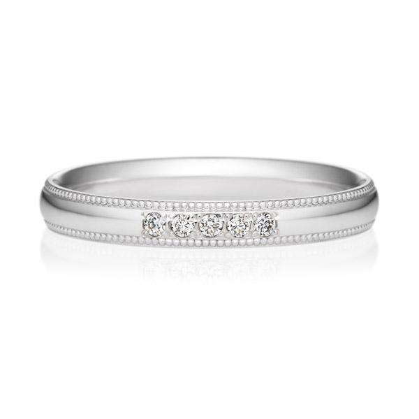 PT950 オーバル ダイヤモンド 5pcs プチエタニティ リング ミルグレイン 2.5mm 4-16