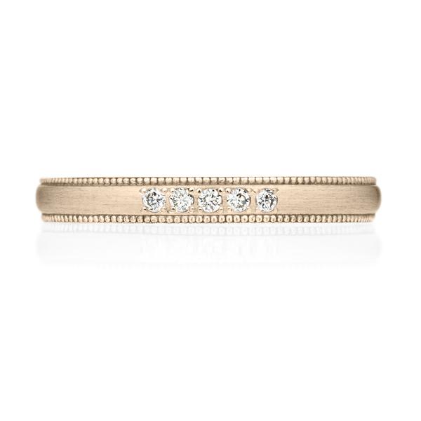 K18CG オーバル ダイヤモンド 5pcs プチエタニティ リング ミルグレイン ヘアーライン  2.5mm