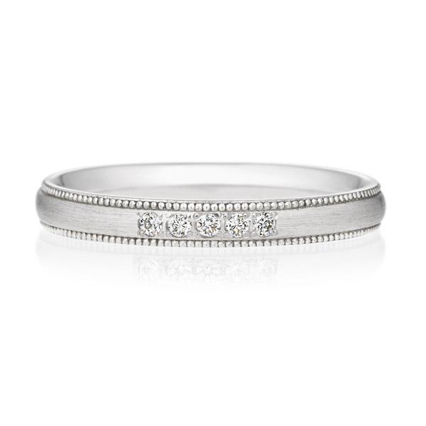 PT950 オーバル ダイヤモンド 5ps プチエタニティ リング ミルグレイン ヘアーライン  2.5mm