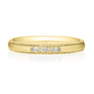 K18YG オーバル ダイヤモンド 5pcs プチエタニティ リング ミルグレイン ヘアーライン  2.5mm
